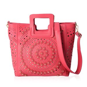 c840fe9a21 Fuchsia Faux Leather Laser Cut Flower Pattern Studded Handbag (13.5x4x10.5  in)