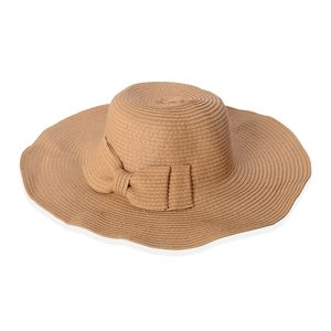 Brown 100% Straw Paper Sun Hat with Bowknot (15.5 in)