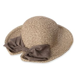 Brown 100% Straw Paper Bowknot Cloche Hat (13.5 in)