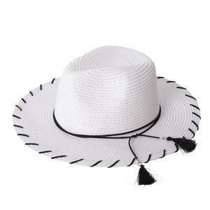 White 100% Paper Straw Bow Tie Tassel Panama Hat (One Size)