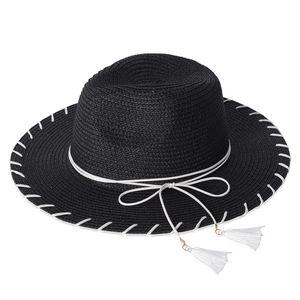 Black 100% Paper Straw Bow Tie Tassel Panama Hat (One Size)