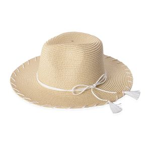 Natural 100% Paper Straw Bow Tie Tassel Panama Hat (One Size)