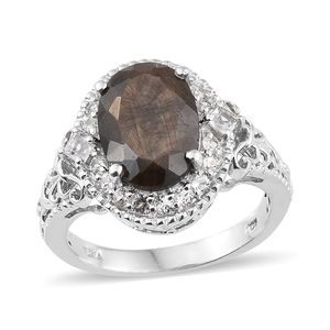 Chocolate Sapphire, White Topaz Platinum Over Sterling Silver Ring (Size 7.0) TGW 8.70 cts.