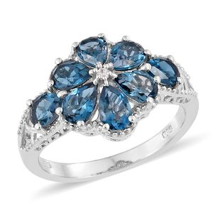 Dan's Collector Deal London Blue Topaz, Cambodian Zircon Platinum Over Sterling Silver Floral Ring (Size 5.0) TGW 3.95 cts.