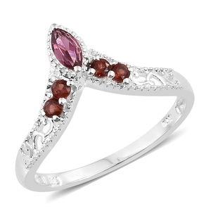 Orissa Rose Garnet, Mozambique Garnet Sterling Silver V-Shape Ring (Size 7.0) TGW 0.58 cts.