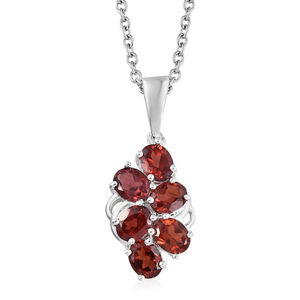 Mozambique Garnet Sterling Silver Pendant With Stainless Steel Chain (20 in) TGW 2.11 cts.