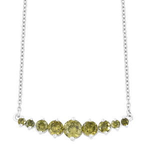 Simulated Peridot Diamond Sterling Silver Necklace (18 in) TGW 5.20 cts.