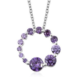 Simulated Amethyst Diamond Sterling Silver Pendant With Stainless Steel Chain (20 in) TGW 3.68 cts.
