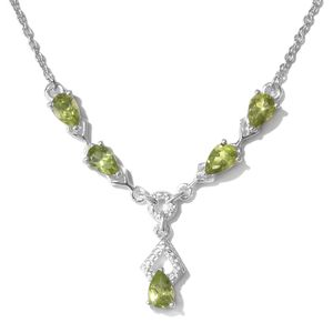 Memorial Day Doorbuster Hebei Peridot Sterling Silver Teardrop Necklace with Stainless Steel Chain (18 in) TGW 2.90 cts.