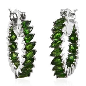 Russian Diopside Platinum Over Sterling Silver Inside Out Hoop Earrings TGW 5.69 cts.