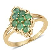 Brazilian Emerald Vermeil YG Over Sterling Silver Split Ring (Size 10.0) TGW 1.38 cts.
