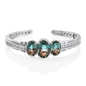 Aqua Terra Costa Quartz, White Topaz Platinum Over Sterling Silver Cuff (7.25 in) TGW 26.65 cts.