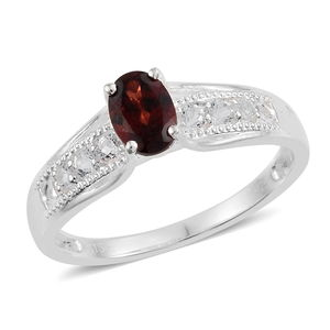 Mozambique Garnet, White Topaz Sterling Silver Bridge Ring (Size 7.0) TGW 1.36 cts.