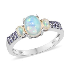Customer Appreciation Day Ethiopian Welo Opal, Tanzanite Platinum Over Sterling Silver Ring (Size 7.0) TGW 1.68 cts.