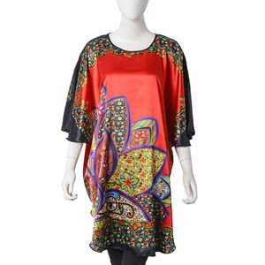 Red and Multi Color 100% Polyester Lotus Flower Pattern Long Blouse (One Size)