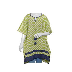 MANGLAM- Lime 100% Cotton Hand Screen Geometric Print Kaftan with Navy Border and Drawstring Tassel (One Size-L35xW41 in)