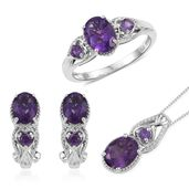 Lusaka Amethyst Platinum Over Sterling Silver Earrings, Ring (Size 8) and Pendant With Chain (20 in) TGW 5.94 cts.