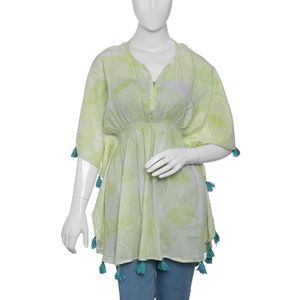 Green MARIE KAFTAN Hand Screen Printed (31x41 in, 100% Cotton)