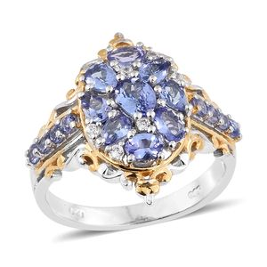 Tanzanite, Cambodian Zircon 14K YG and Platinum Over Sterling Silver Openwork Ring (Size 6.0) TGW 2.34 cts.