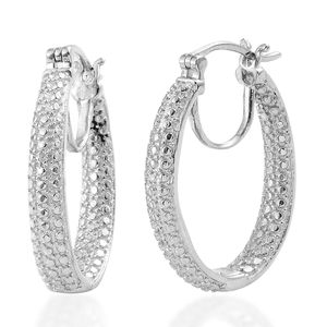 KARIS Collection - Diamond Platinum Bond Brass Accent Hoop Earrings