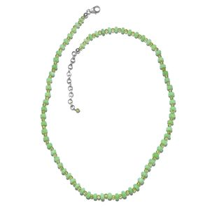 Green Opal, Hebei Peridot Platinum Over Sterling Silver Necklace (18 in) with Lobster Lock TGW 52.00 cts.