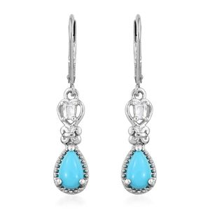 Arizona Sleeping Beauty Turquoise, White Topaz Platinum Over Sterling Silver Lever Back Earrings TGW 1.74 cts.