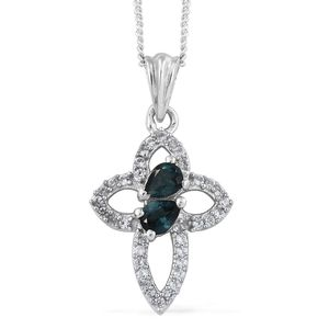 Monte Belo Indicolite, Cambodian Zircon Platinum Over Sterling Silver Cross Pendant With Chain (20 in) TGW 0.60 cts.