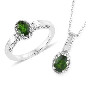 Russian Diopside Platinum Over Sterling Silver Solitaire Ring (Size 7) and Pendant With Chain (20 in) TGW 1.60 cts.