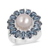 White South Sea Pearl (9-10 mm), London Blue Topaz Sterling Silver Ring (Size 9.0) TGW 4.00 cts.