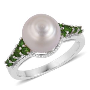 White South Sea Pearl (9-10 mm), Russian Diopside Sterling Silver Ring (Size 8.0) TGW 0.48 cts.