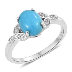 Memorial Day Doorbuster Arizona Sleeping Beauty Turquoise, Cambodian Zircon Platinum Over Sterling Silver Ring (Size 10.0) TGW 2.22 cts.