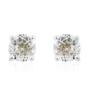 Brazilian Goshenite Sterling Silver Stud Earrings TGW 0.90 cts.