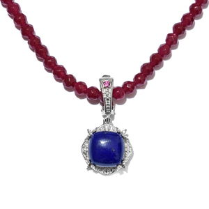 Lapis Lazuli, Multi Gemstone Platinum Bond Brass Pendant With Stainless Steel Chain (20 in) TGW 46.56 cts.