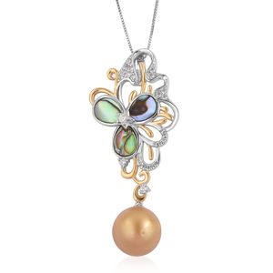 South Sea Golden Pearl (12-13 mm), Multi Gemstone 14K YG Over and Sterling Silver Butterfly Pendant With Chain (18 in) TGW 0.88 cts.