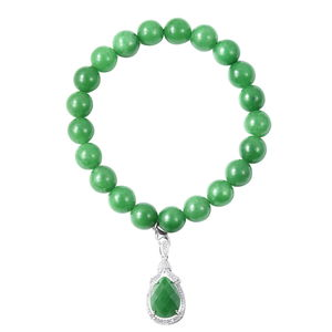 Burmese Green Jade, Simulated White Diamond Sterling Silver Bracelet with Charm TGW 196.46 cts.