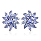 Tanzanite Platinum Over Sterling Silver Stud Earrings TGW 2.05 cts.