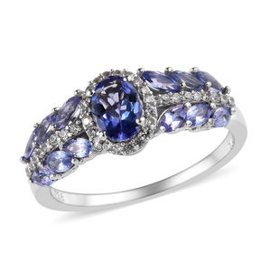 Tanzanite, Cambodian Zircon Platinum Over Sterling Silver Ring (Size 8.0) TGW 2.01 cts.