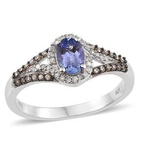 Tanzanite, Natural Champagne Diamond, Diamond Platinum Over Sterling Silver Ring (Size 5.0) TDiaWt 0.26 cts, TGW 1.21 cts.