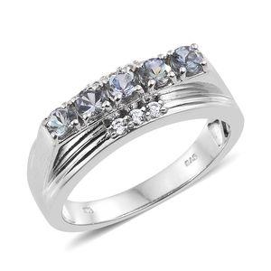 Green Tanzanite, Cambodian Zircon Platinum Over Sterling Silver Men's Signet Ring (Size 12.0) TGW 1.84 cts.