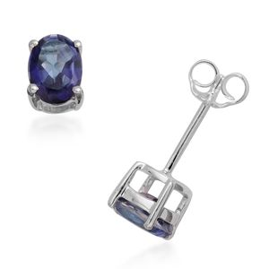 Mystic Neptune Topaz Sterling Silver Oval Stud Earrings TGW 1.88 cts.
