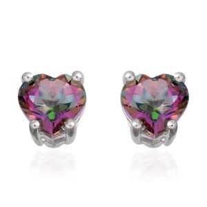 Northern Lights Mystic Topaz Sterling Silver Heart Stud Earrings TGW 1.84 cts.