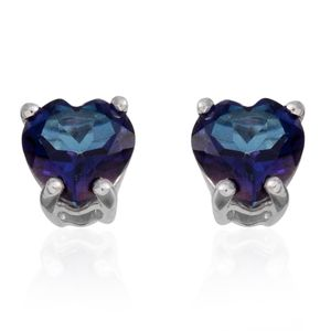 Mystic Neptune Topaz Sterling Silver Heart Stud Earrings TGW 1.84 cts.
