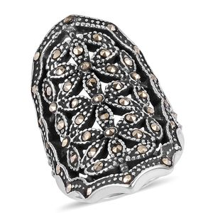 Swiss Marcasite Black Oxidized Stainless Steel Ring (Size 8.0) TGW 0.50 cts.