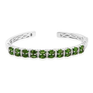 Russian Diopside Platinum Over Sterling Silver Cuff (6.50 in) TGW 4.90 cts.