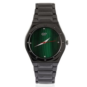 GP Black Ceramic, African Malachite, Diamond Accent Swiss Movement Water Resistant Watch with Stainless Steel Back TGW 414.02 cts.