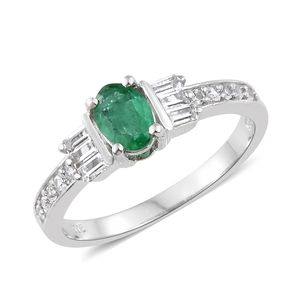 Brazilian Emerald, White Topaz Platinum Over Sterling Silver Ring (Size 5.0) TGW 1.41 cts.