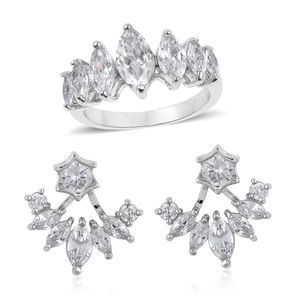 Simulated White Diamond Silvertone Ear Jacket Earrings and Ring (Size 7) TGW 3.50 cts.