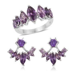Simulated Purple Diamond Silvertone Ear Jacket Earrings and Ring (Size 8) TGW 3.50 cts.