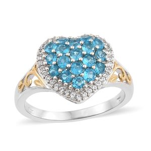 Malgache Neon Apatite, Cambodian Zircon 14K YG and Platinum Over Sterling Silver Heart Ring (Size 7.0) TGW 1.40 cts.