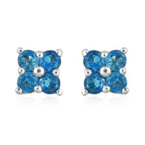 Malgache Neon Apatite Platinum Over Sterling Silver Stud Earrings TGW 0.60 cts.